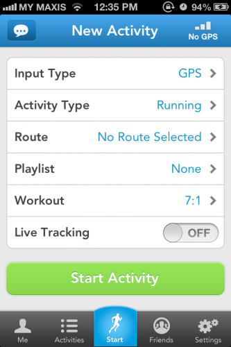 Runkeeper Screen 1