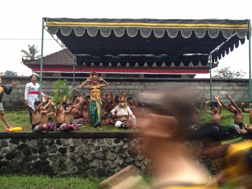 Passing by the 'kecak' dance tent.